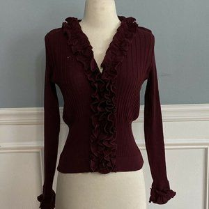 Anne Fontaine Ruffle Sweater Cardigan
